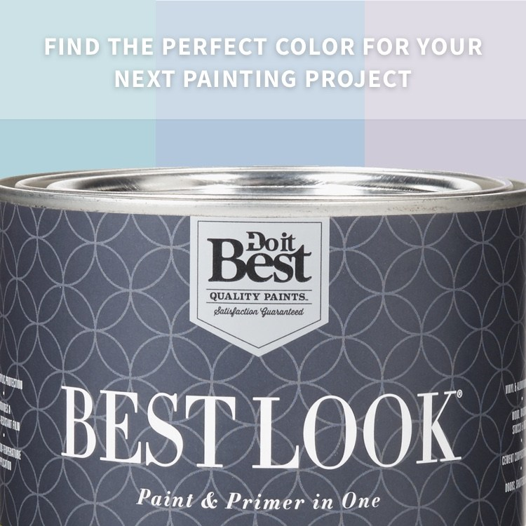 Best Look paint can near paint swatches