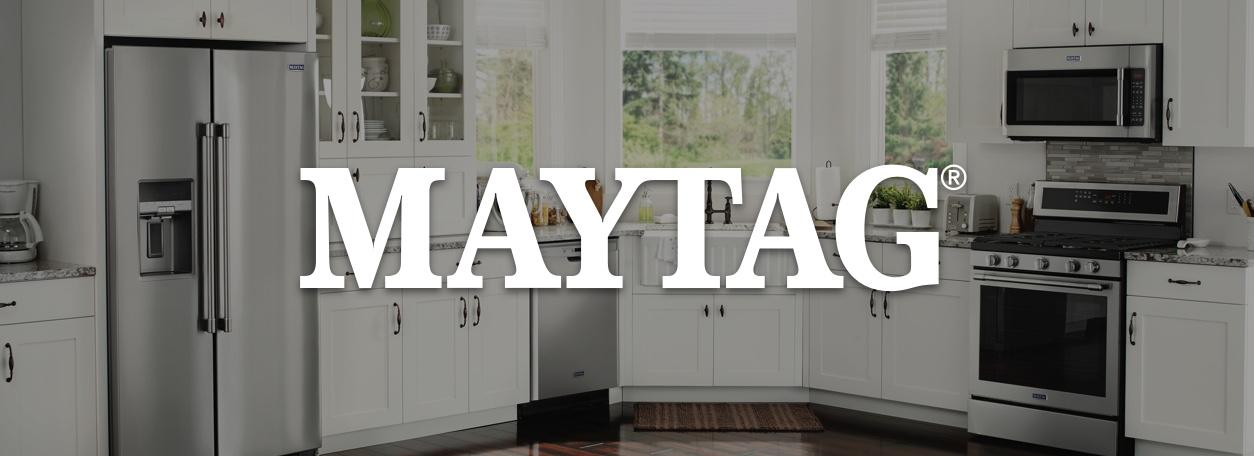 Maytag logo with modern kitchen appliances